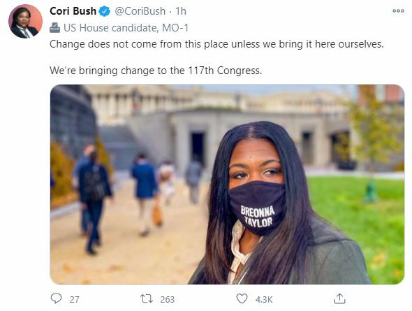 Tweet from Cori Bush-Change does not come from this place unless we bring it ourselves.