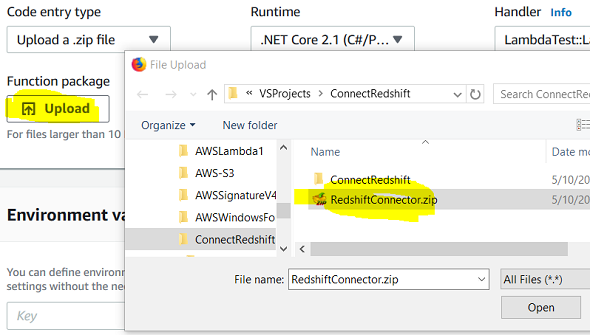 Make AWS Lambda Function to Connect Amazon Redshift with C