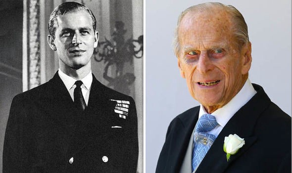 A side-by-side photo of a young Prince Philip (left) and an old Prince Philip (right).