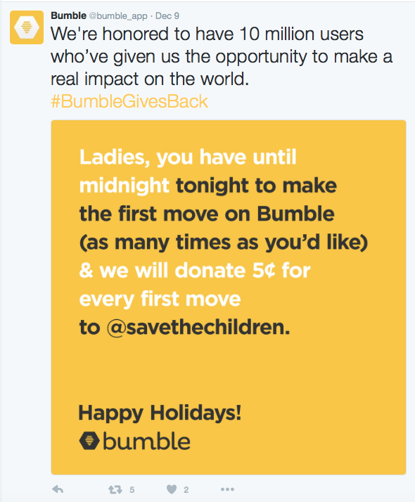 Bumble Offered to Donate 5 Cents per First Message, So I Messaged