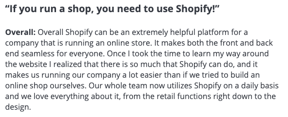 Review from user Sarah O