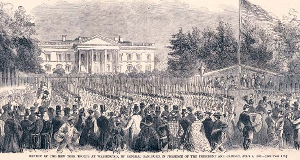 Celebration and troop review outside the White House on July 4th, 1861.