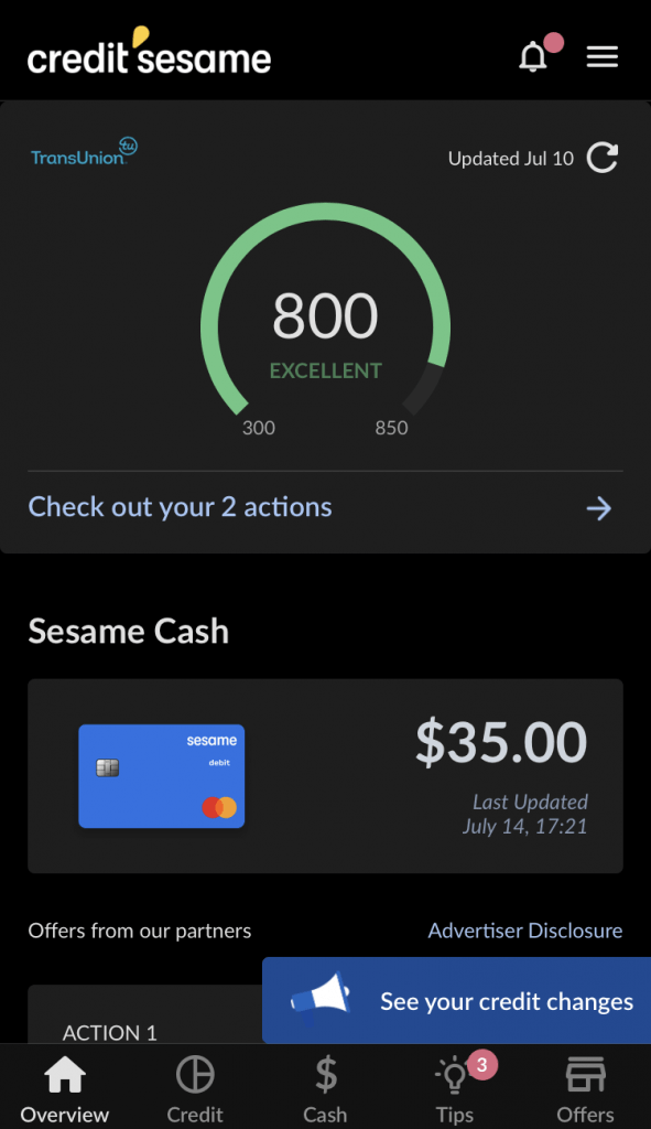 Sesame Cash app screenshot