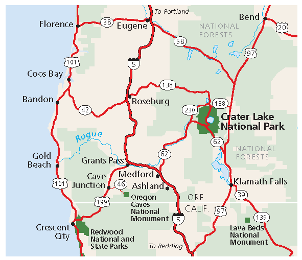 Map of Southwestern Oregon showing the location of Cave Junction.
