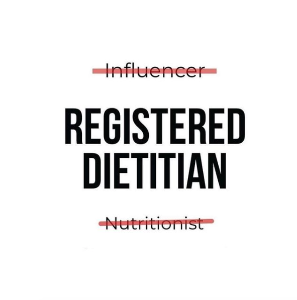 White box with influencer crossed out, then registered dietitian centred in capitals, and nutritionist crossed out below.