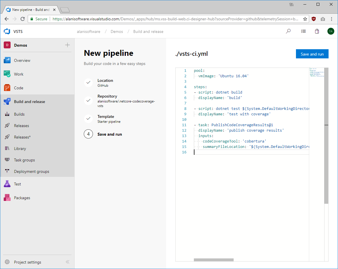 Publishing Test Coverage with  NET Core and VSTS Build Pipelines