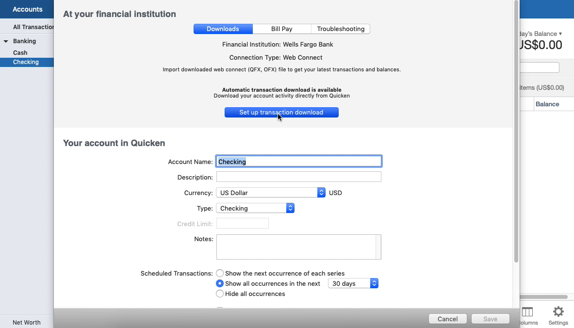 Convert OFX to QFX (Web Connect) and import into Quicken