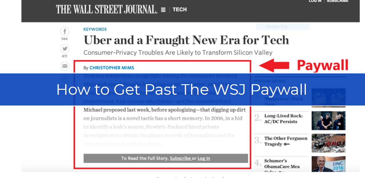 How to Get Past The Wall Street Journal Paywall in a Few