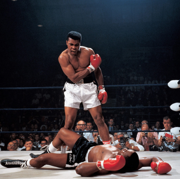 Iconic photo by Neil Leifer of Muhammad Ali and Sonny Liston in Ali Liston II