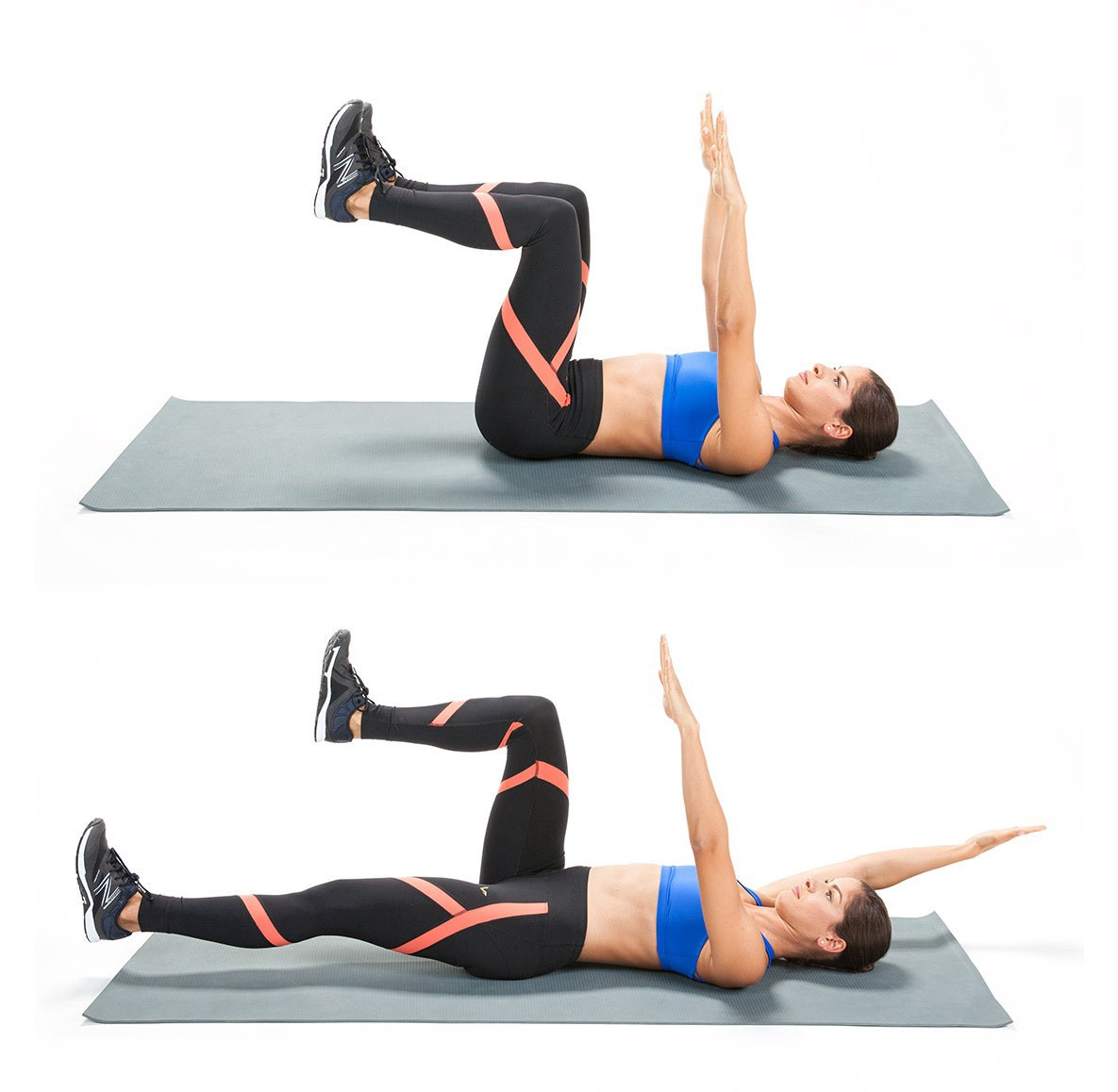 A side view of a woman on her back doing the dead bug exercise with her arms and legs in the air