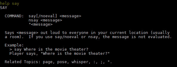An example of a Help File for 'Help Say'