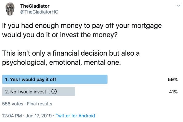 Poll asking people if they would pay off their mortgage if they had enough money