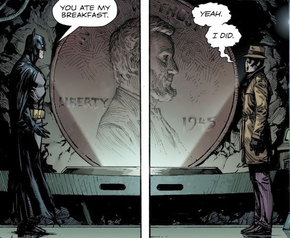 Batman: You ate my Pancakes. Rorscharch: Yeah. I did.