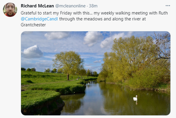 My tweet with a picture of the river Cam at Grantchester