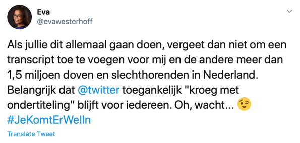 A comment in Dutch on Twitter from Eva Westerhoff, with the Translate Tweet link located underneath the text.