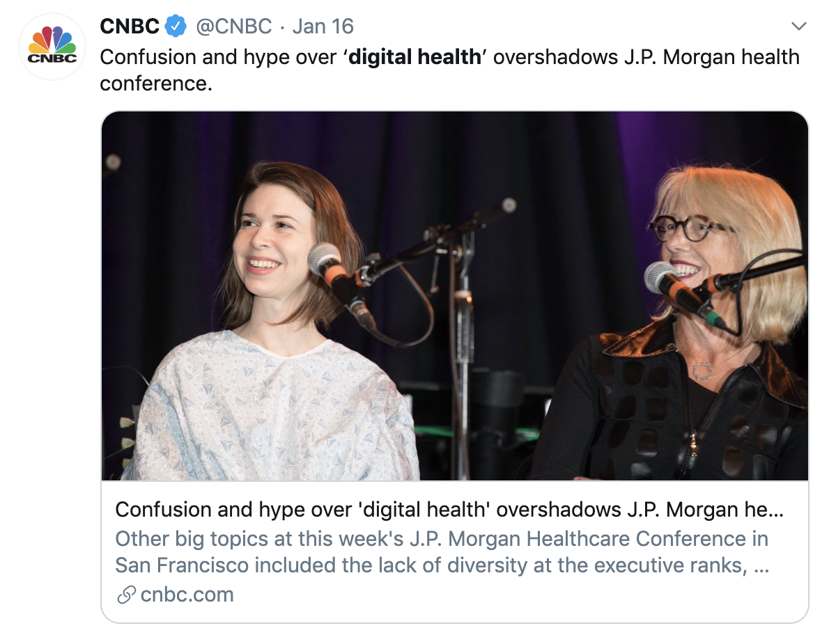 CNBC tweet summarizing JPM digital health hype