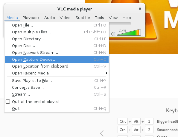 Desktop Screen record with VLC on Fedora Linux core 22