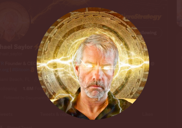 An image of Michael Saylor with Bitcoin lightning coming from his eyes.
