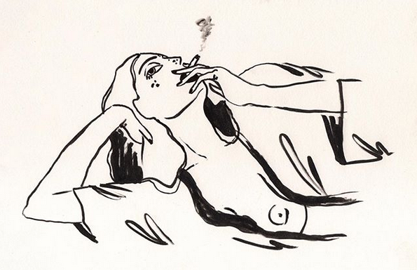 A robed woman with one breast exposed lying on her side. Smoking the last of a cigarette.