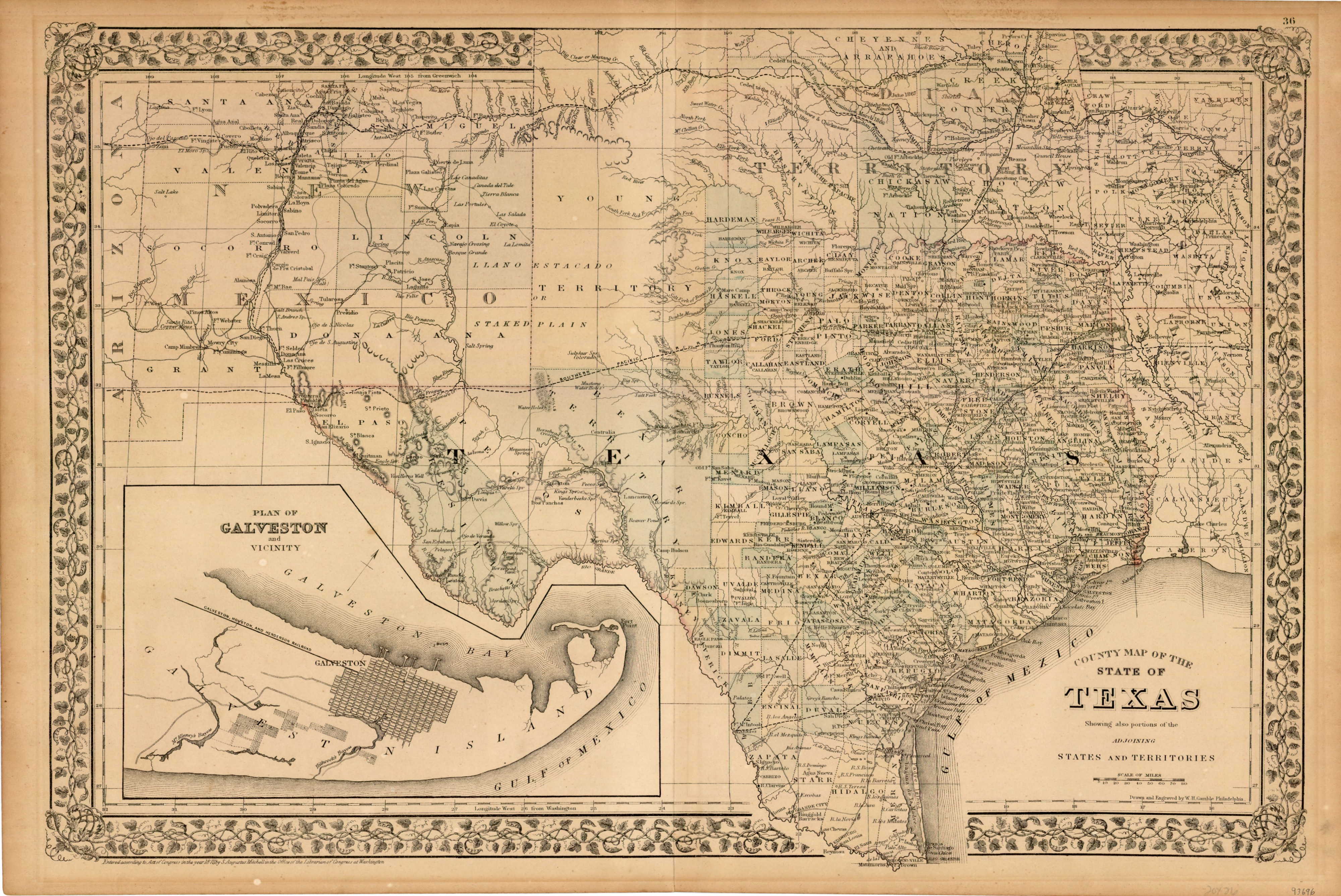 State Of Texas County Map.County Map Of The State Of Texas 1873 By W H Gamble