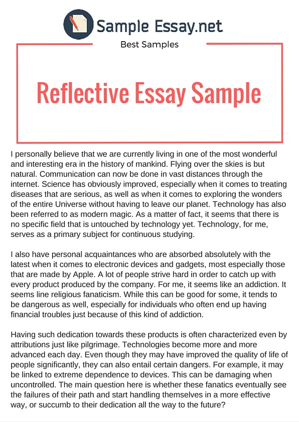 Sample of reflective essay