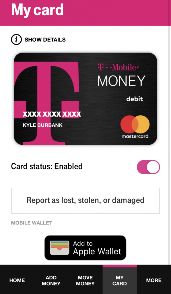 T-Mobile Money debit card