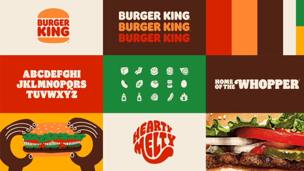 Images showcasing colors, typography, and illustrations from the Burger King brand refresh.
