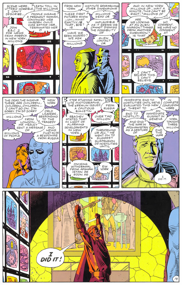 Moore and artist Dave Gibbons' multi-layered approach to storytelling within the great Watchmen, 1986.