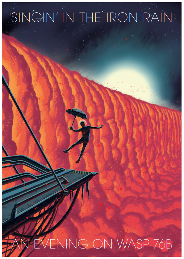A dancer with an umbrella on a red planet.