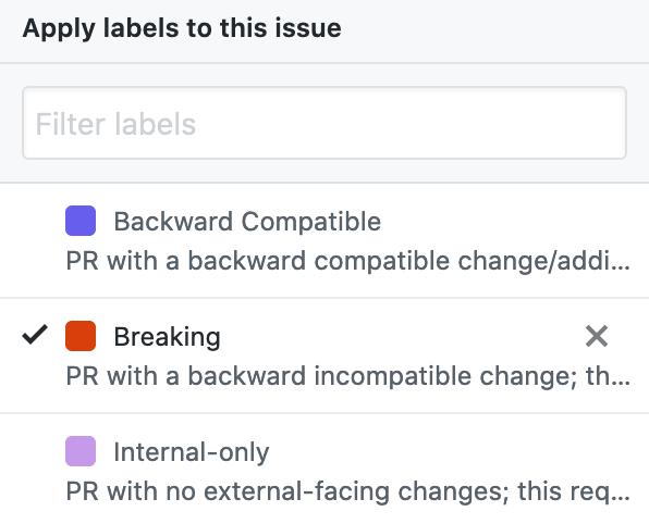 github labels list showing breaking, backward compatible, and internal-only labels