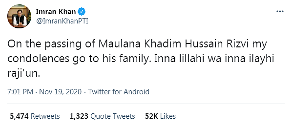 Pakistani Prime Minister sending condelences to the family of a religious extremist, the leader of Tehreek-e-Labbaik Pakistan, who called for droping nuclear weapons on France
