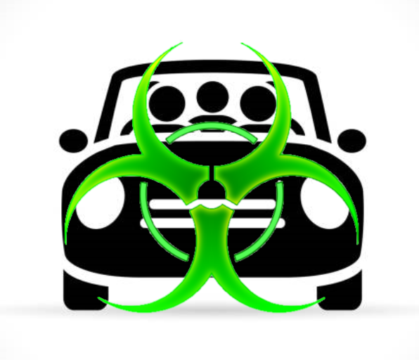 A black and white image of a car with 3 visible passengers has a green biohazard symbol superimposed over it.