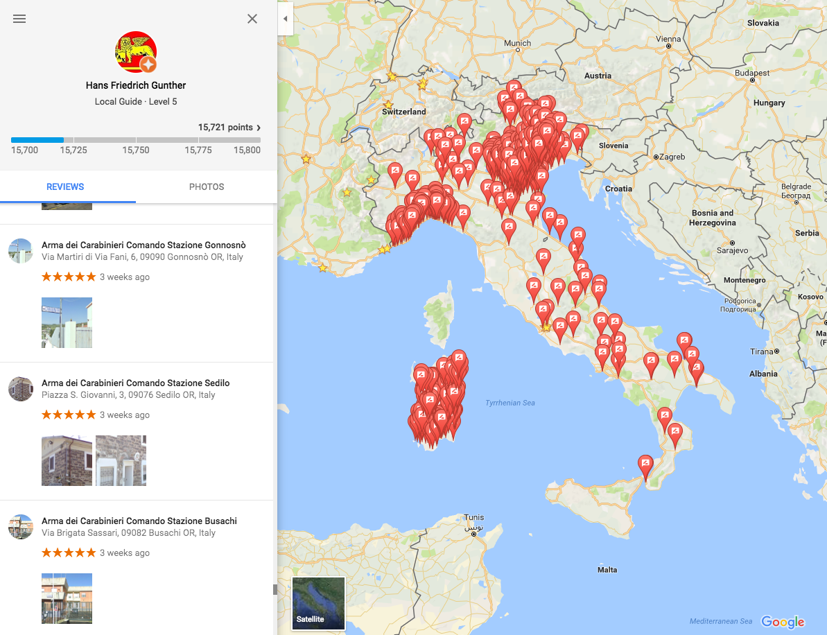 Hundreds of fake 5-star reviews to Italian police stations ... on google map of reunion island, google map of united states of america, google map of uganda, google map of new england states, google map of jamaica west indies, google map of upstate new york, google map of eurasia, google map of cameroon, google map of latvia, google map of oceans, google map of crimea, google map of the middle east, google map of palau, google map of arabian peninsula, google map of easter island, google map of southern florida, google map of saipan, google map of serbia, google maps rome-italy, google map of normandy,