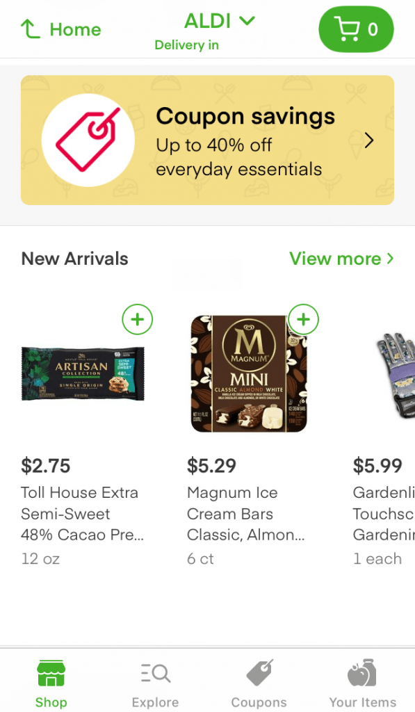 Instacart app screenshot