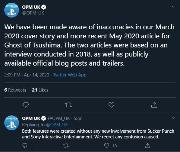 Twitter post of a mistake made about Ghost of Tsushima