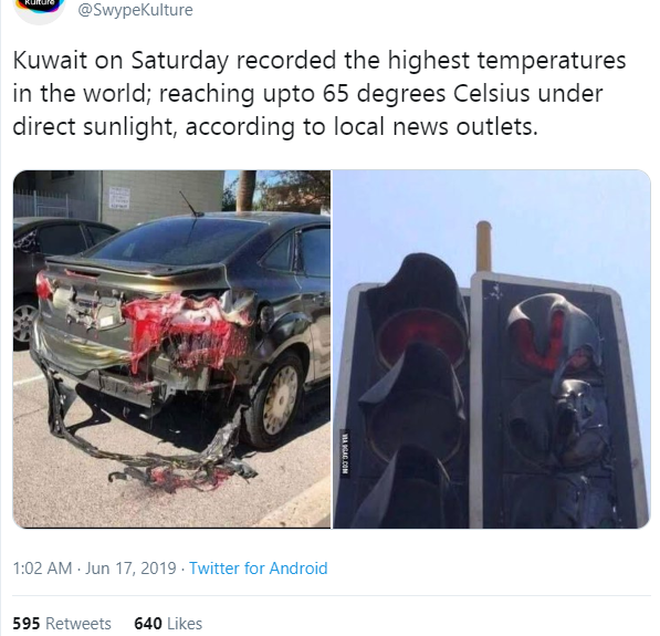 FALSE: Cars and traffic lights did not melt following a heat wave in