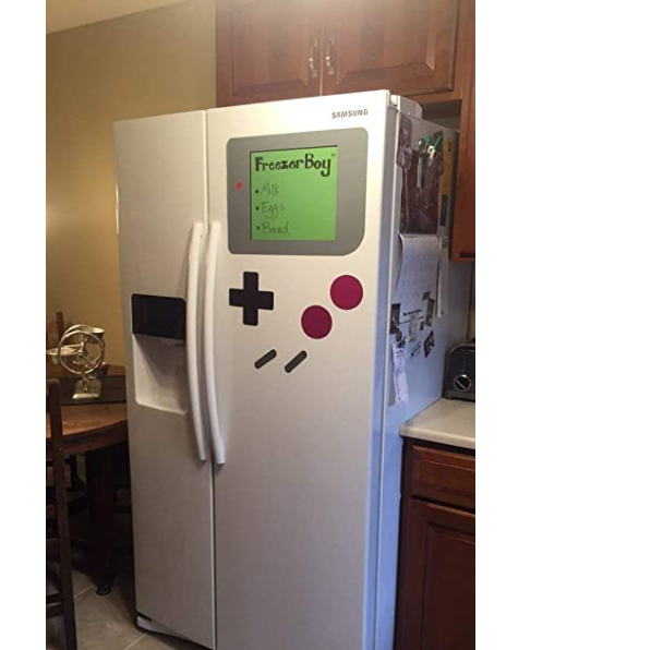 A refridgerator with a Gameboy design on it.