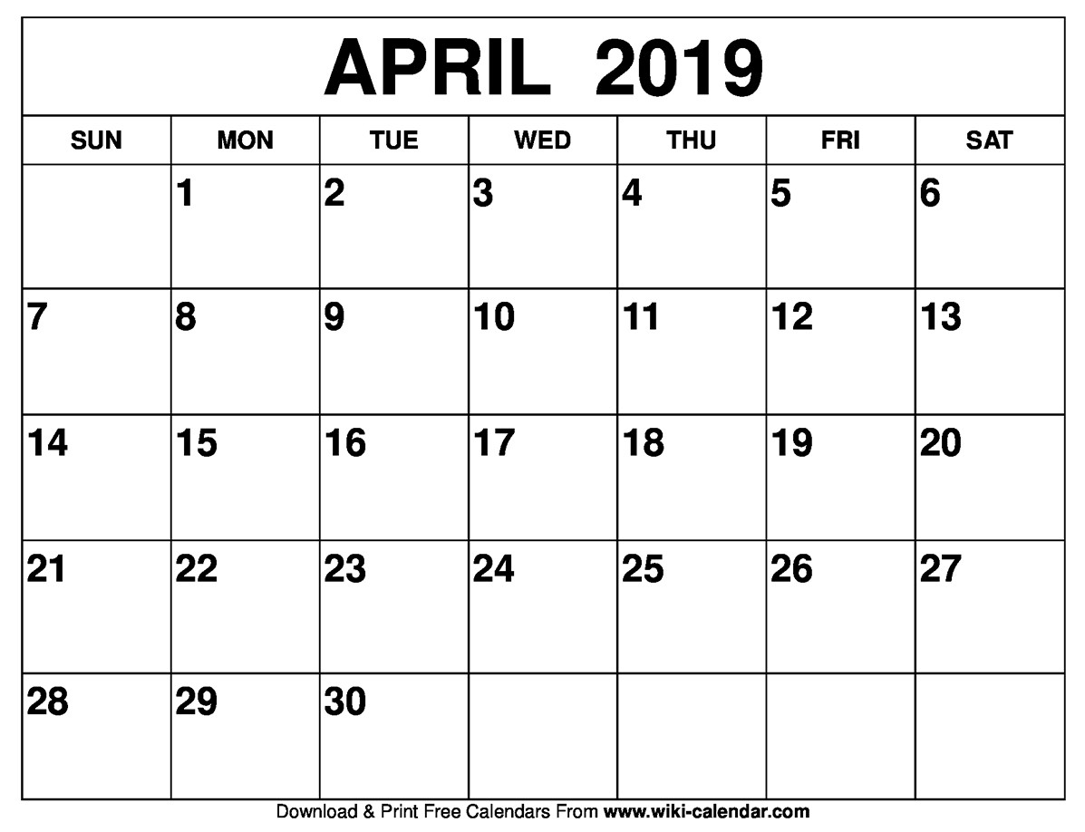 April 2019 Calendar Sharon Gore Medium