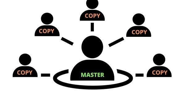 Network of individuals with one labelled as Master, while the rest are labelled as Copy.