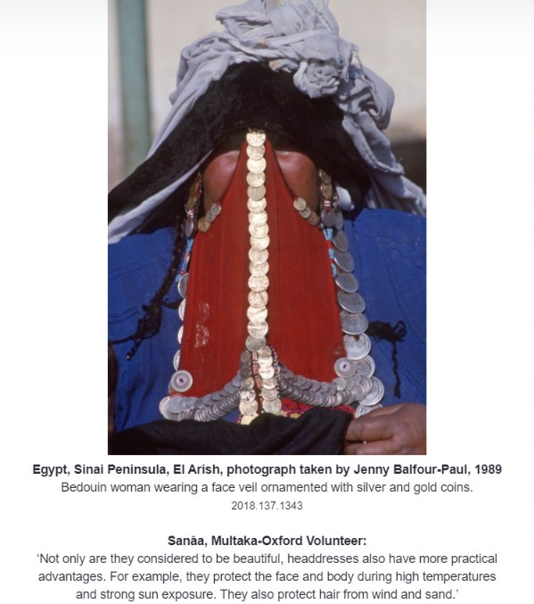 Screenshot of the exhibition showing a photograph of a veiled woman and the labels underneath.
