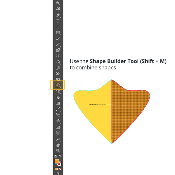 Combining shapes with the Shape Builder Tool.