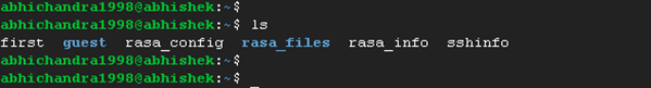 Output of 'ls' command on my system