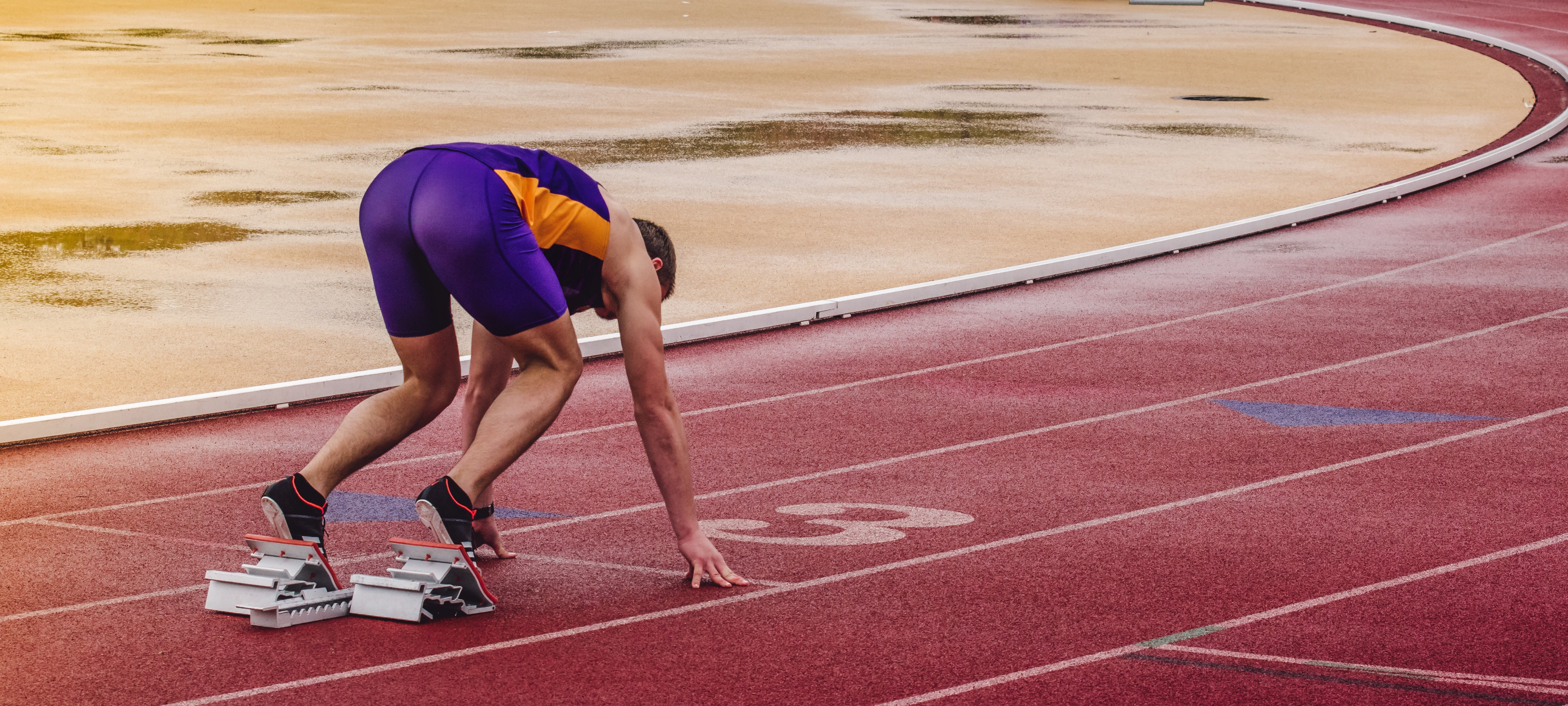 A man getting ready for a race.