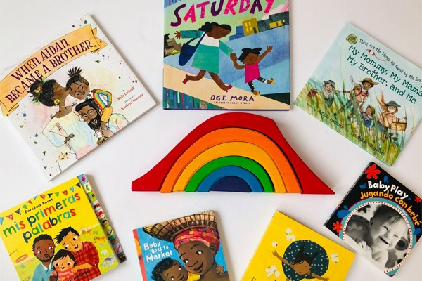 children's books and a rainbow