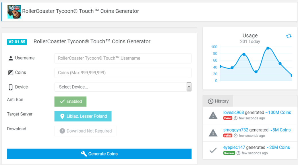 ROLLERCOASTER TYCOON TOUCH COINS GENERATOR - Lidia Mroofs