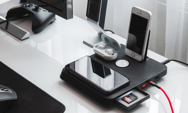PITAKA 6-in-1 charger for multiple devices on a desk