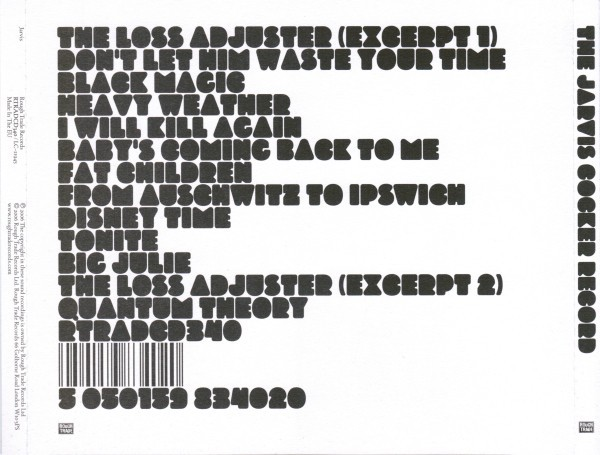 The Jarvis Cover Record rear cover
