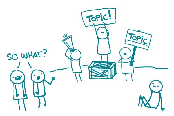 Illustration of topic vs. message