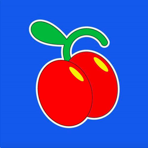 A boldly illustrated, candy-colored image of cherries, crafted in Thomas Hedger's unique style.