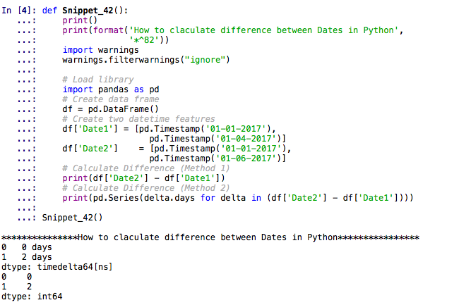 How to calculate difference between dates in Python — Machine